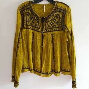 Free People Mustard/Yellow Mirrors Embroidered Top